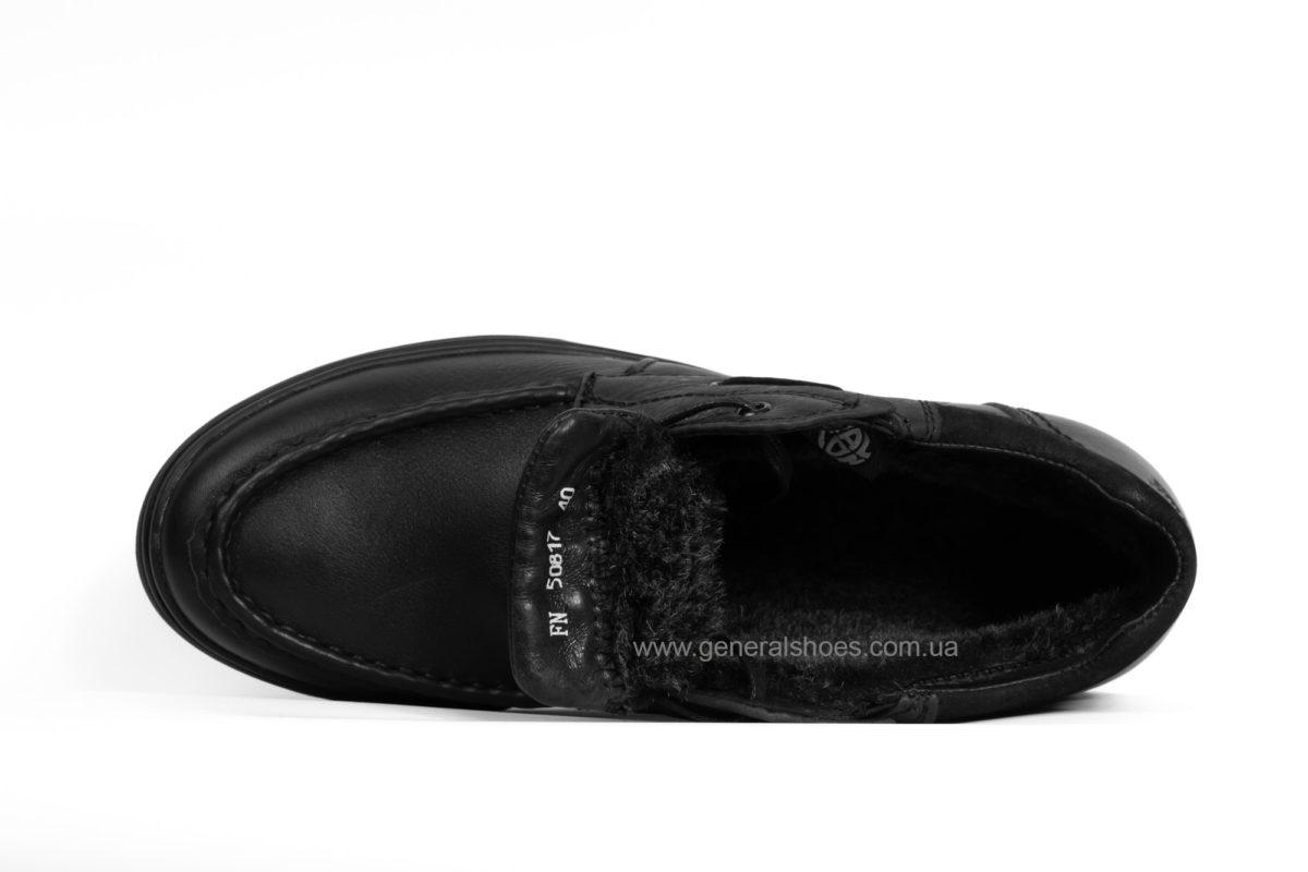 Мужские зимние кожаные ботинки Falcon 50817 blk. фото 4