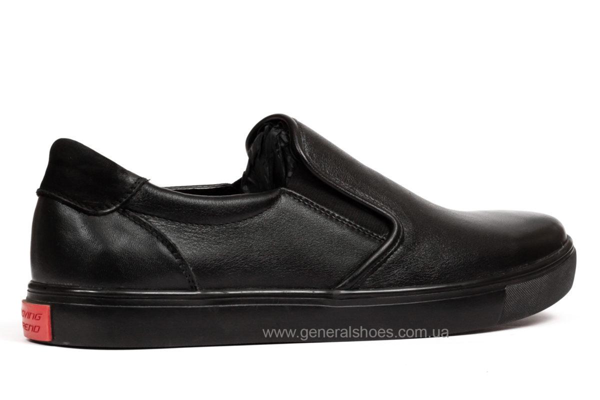 Мужские кожаные слипоны Falcon 1615 черные фото 2