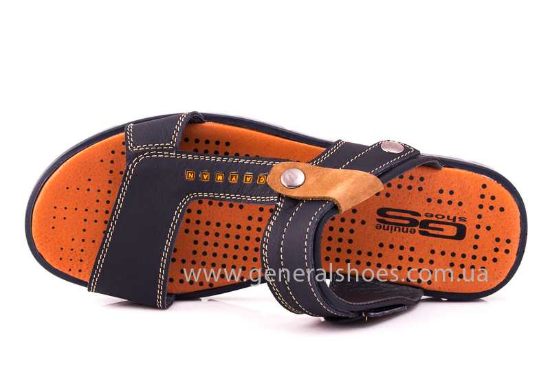 Мужские кожаные сандалии 38V Linkor blue фото 8