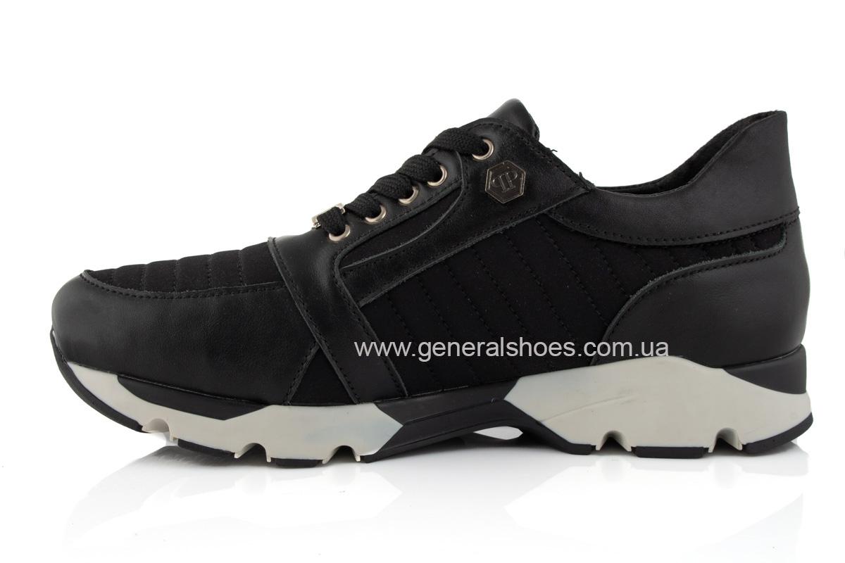 Женские кожаные кроссовки 620 черные фото 5
