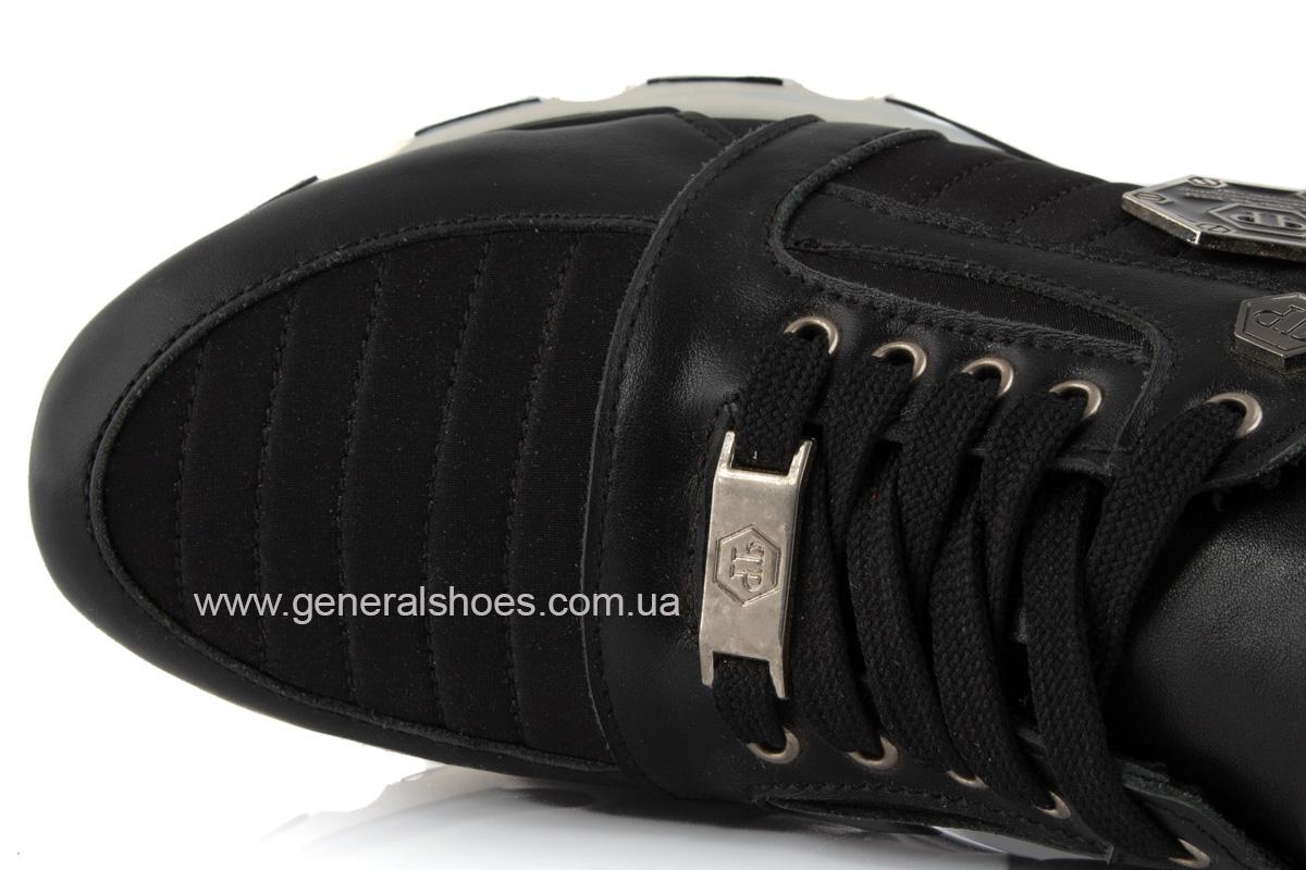 Женские кожаные кроссовки 620 черные фото 6