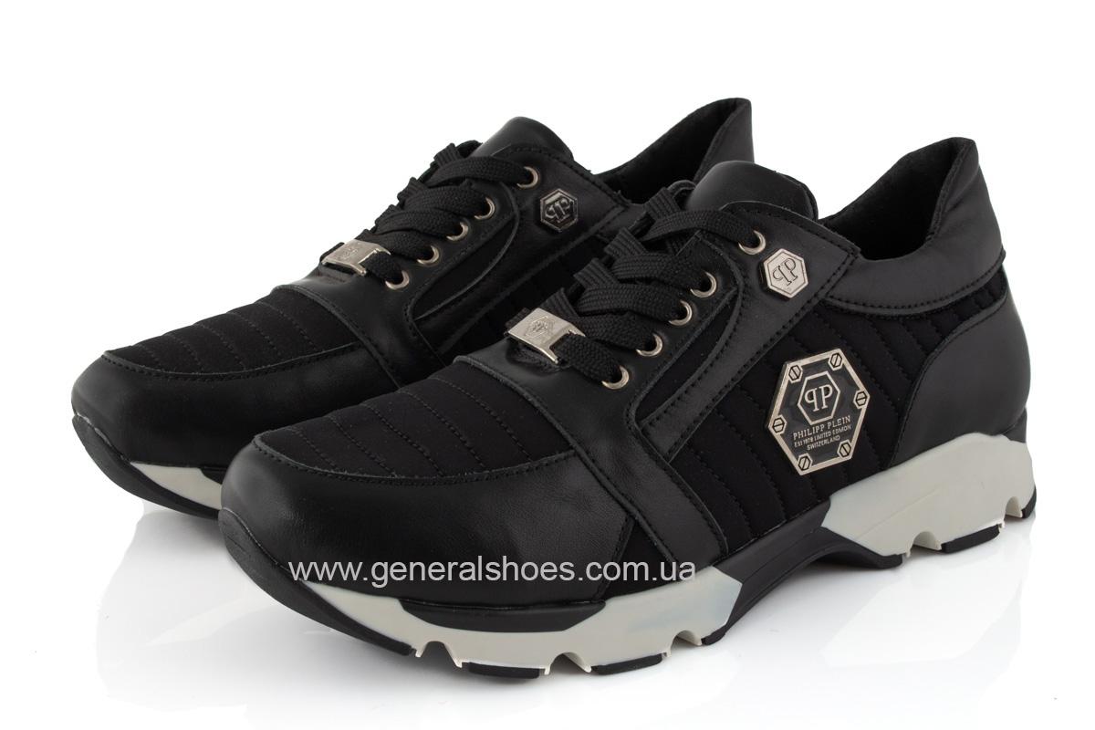Женские кожаные кроссовки 620 черные фото 7