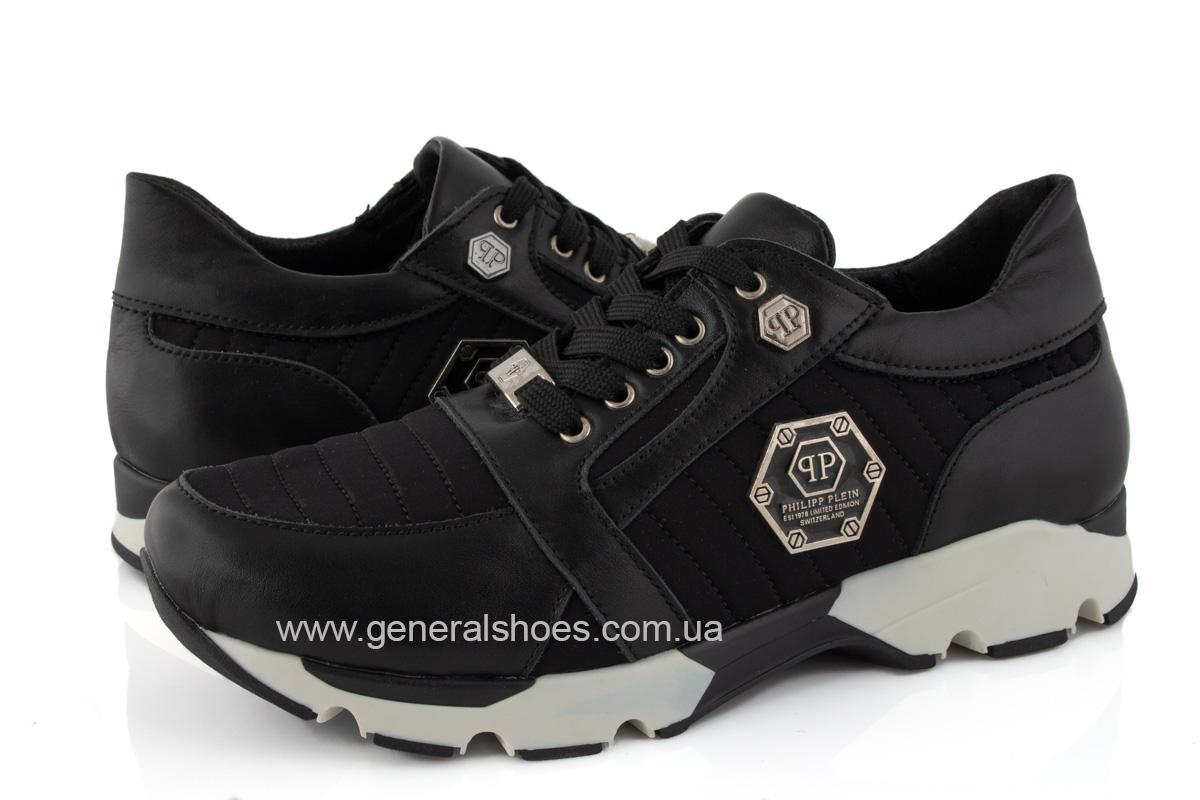 Женские кожаные кроссовки 620 черные фото 8