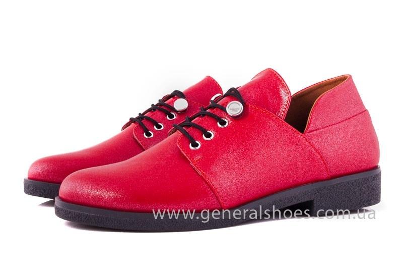 Женские кожаные туфли 6102 К красный фото 6