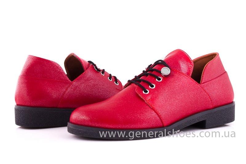 Женские кожаные туфли 6102 К красный фото 7