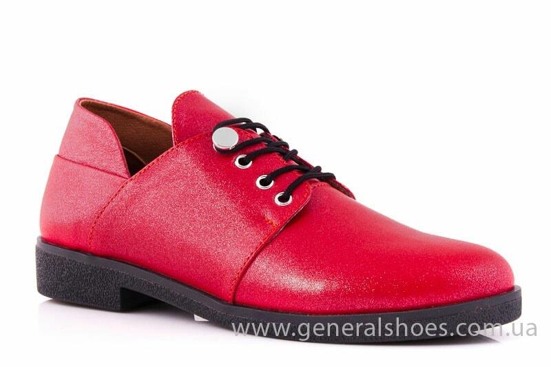 Женские кожаные туфли 6102 К красный фото 1