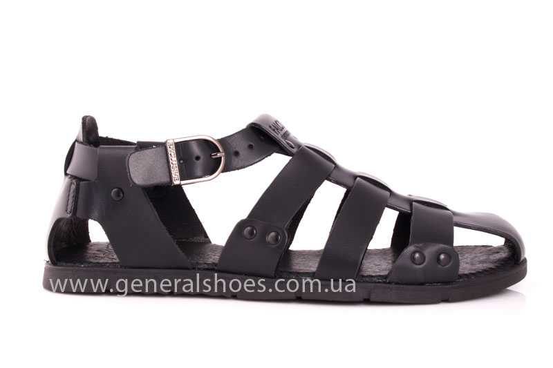 Мужские кожаные сандалии Falcon 9816 blk фото 2