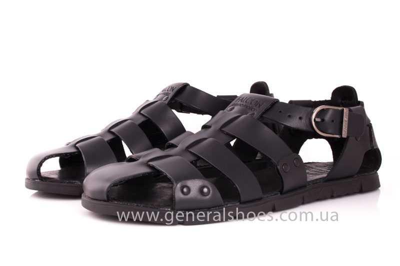 Мужские кожаные сандалии Falcon 9816 blk фото 8