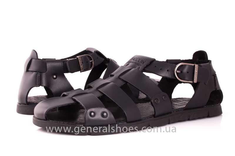 Мужские кожаные сандалии Falcon 9816 blk фото 9
