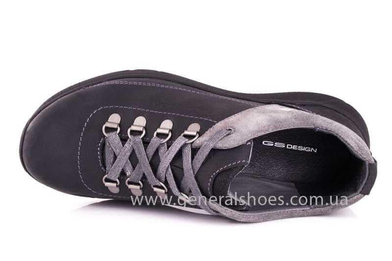 Подростковые кожаные кроссовки GS JUNIOR 13 blk. фото 6