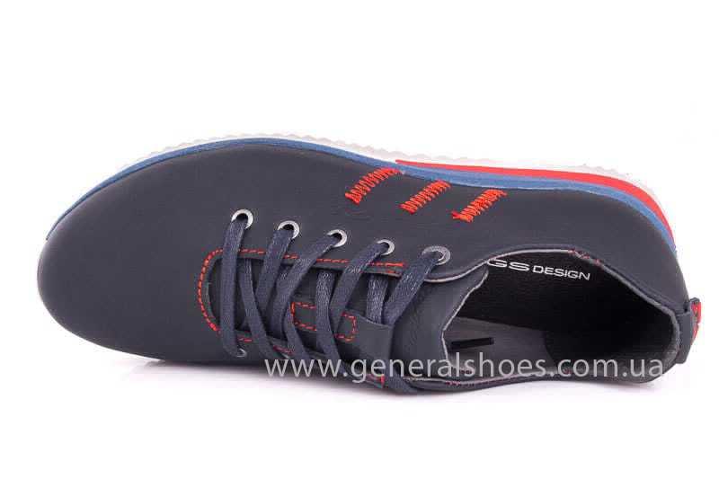 Подростковые кожаные кроссовки GS Junior 10 Zidan blue red фото 8