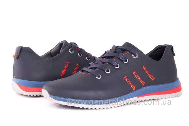 Подростковые кожаные кроссовки GS Junior 10 Zidan blue red фото 7
