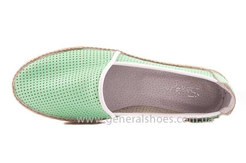 Женские кожаные эспадрильи 07 light green фото 6