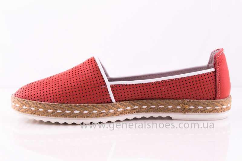 Женские кожаные эспадрильи 07 red фото 5