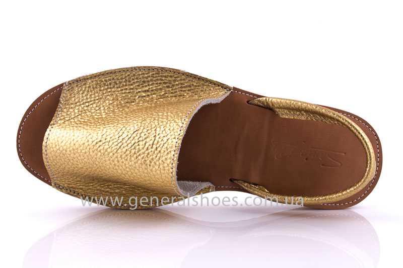 Женские кожаные сандалии 08 gold фото 6