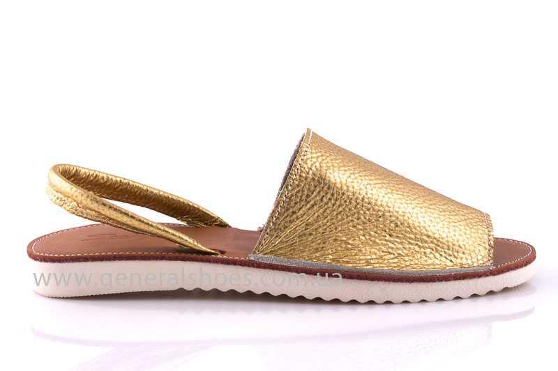 Женские кожаные сандалии 08 gold фото 2