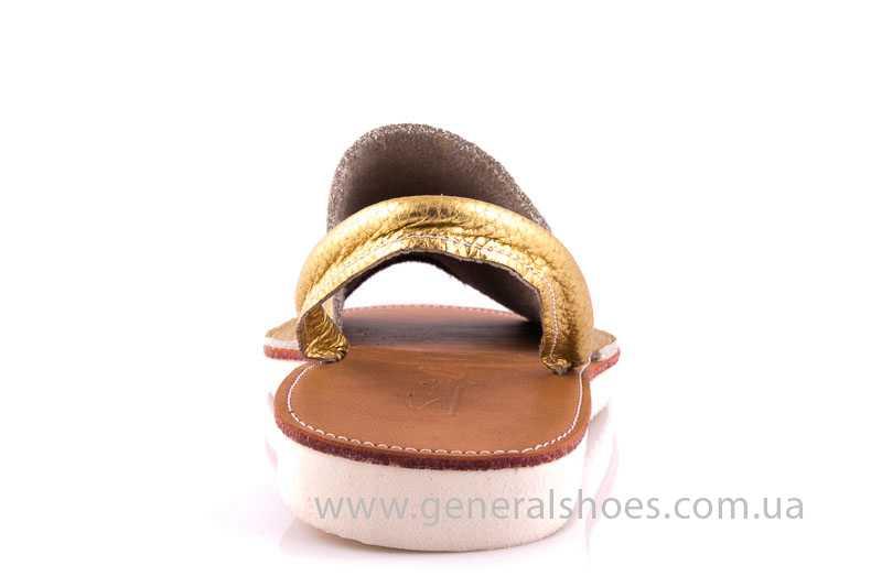 Женские кожаные сандалии 08 gold фото 4