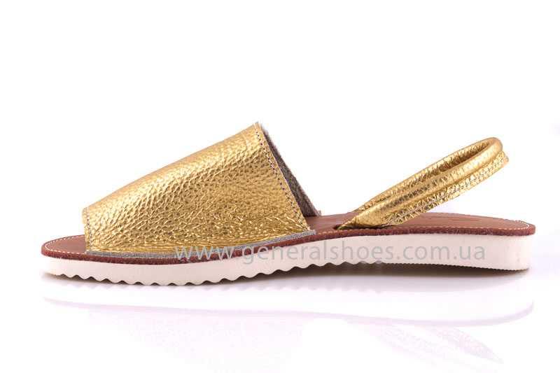 Женские кожаные сандалии 08 gold фото 5