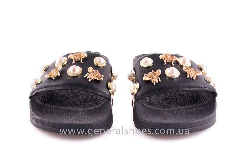 Женские кожаные шлепанцы Pearl blk фото 10