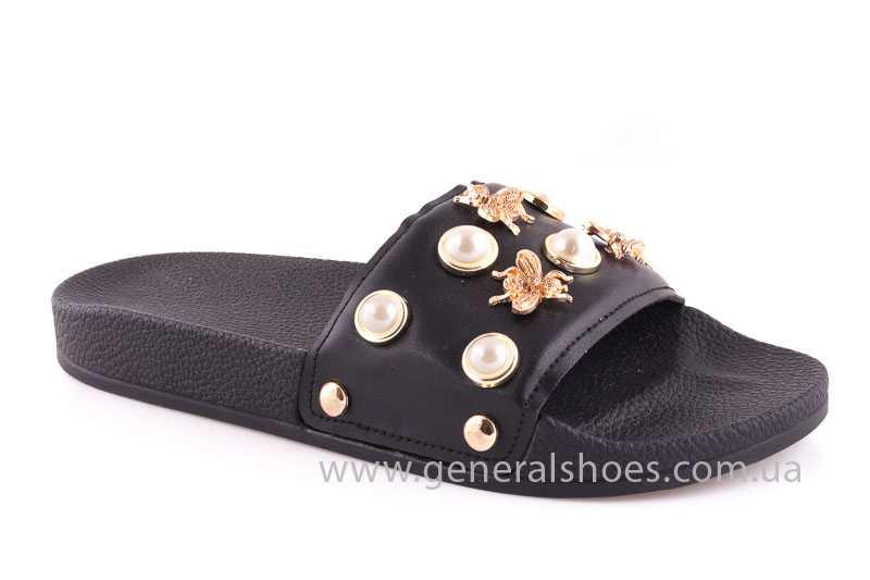 Женские кожаные шлепанцы Pearl blk фото 1
