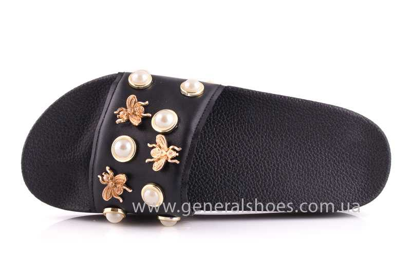 Женские кожаные шлепанцы Pearl blk фото 6