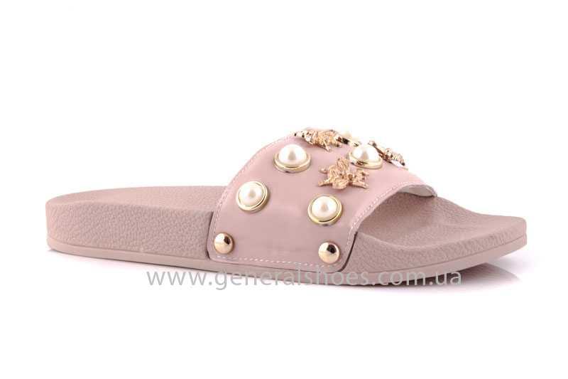 Женские кожаные шлепанцы Pearl pink фото 1