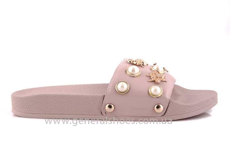 Женские кожаные шлепанцы Pearl pink фото 2