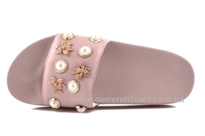 Женские кожаные шлепанцы Pearl pink фото 4