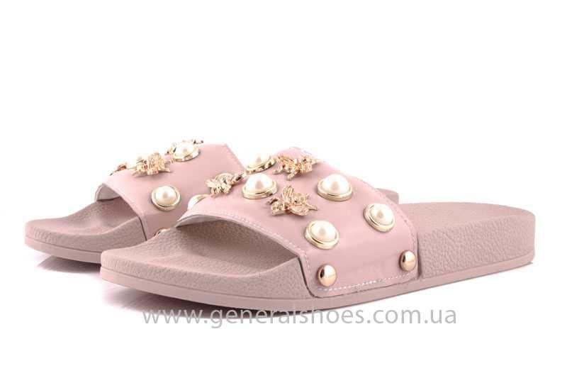 Женские кожаные шлепанцы Pearl pink фото 5