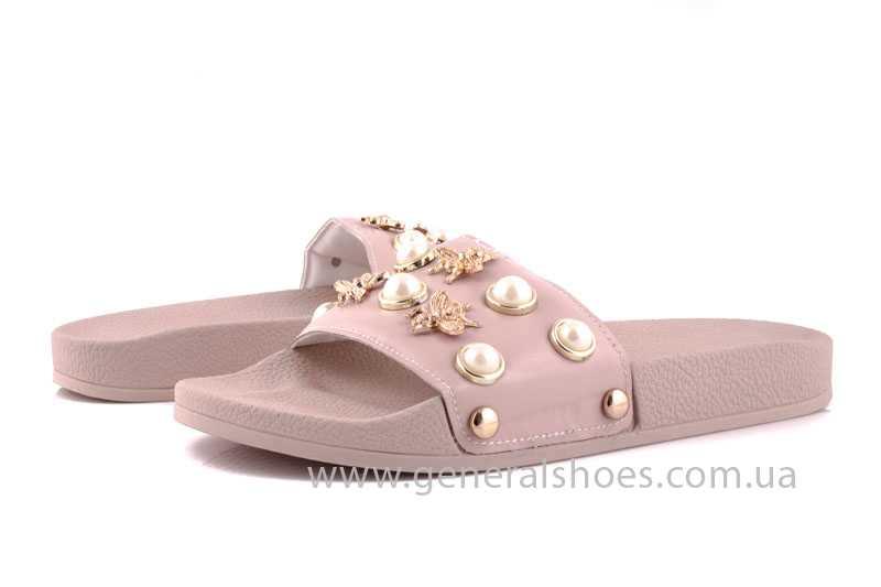 Женские кожаные шлепанцы Pearl pink фото 6