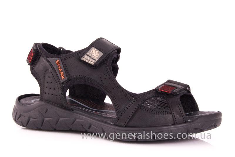 Мужские кожаные сандалии Shark L 63 black red фото 1