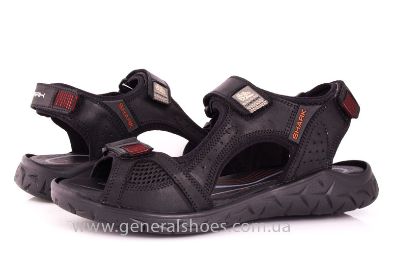Мужские кожаные сандалии Shark L 63 black red фото 10