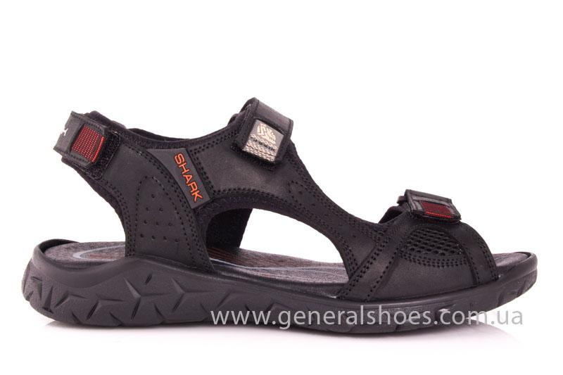 Мужские кожаные сандалии Shark L 63 black red фото 2