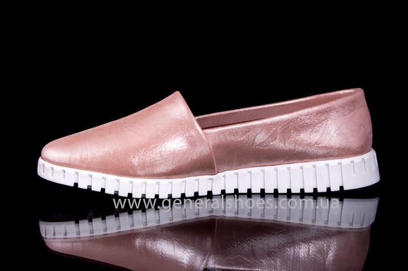 Женские кожаные балетки 64 пудра фото 5