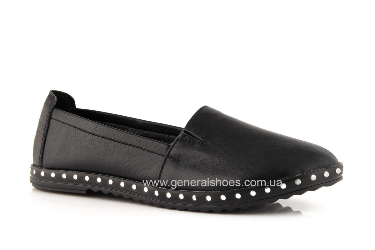 Балетки женские кожаные 0112 черный фото 1