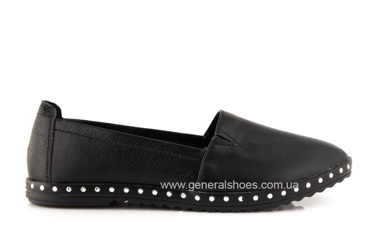 Балетки женские кожаные 0112 черный фото 2