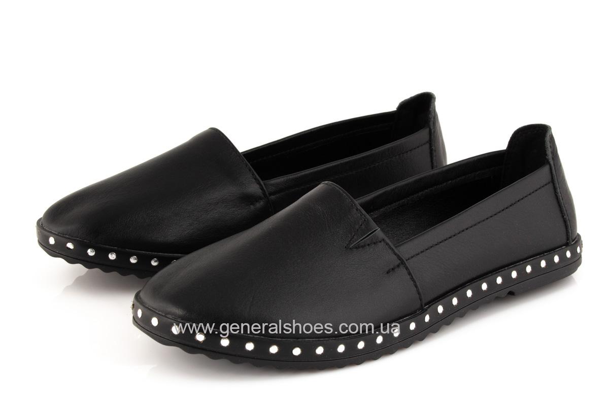 Балетки женские кожаные 0112 черный фото 6