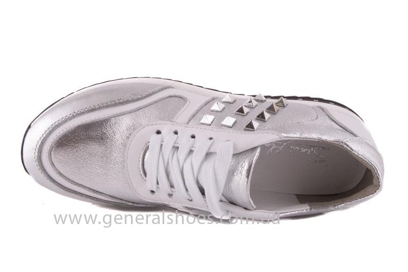 Кроссовки кожаные женские 1302 серебро фото 5