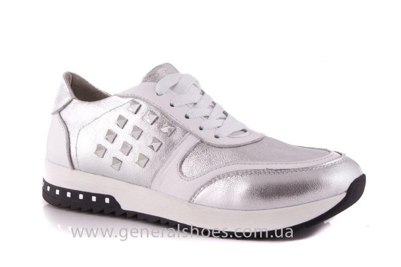 Кроссовки кожаные женские 1302 серебро фото 1