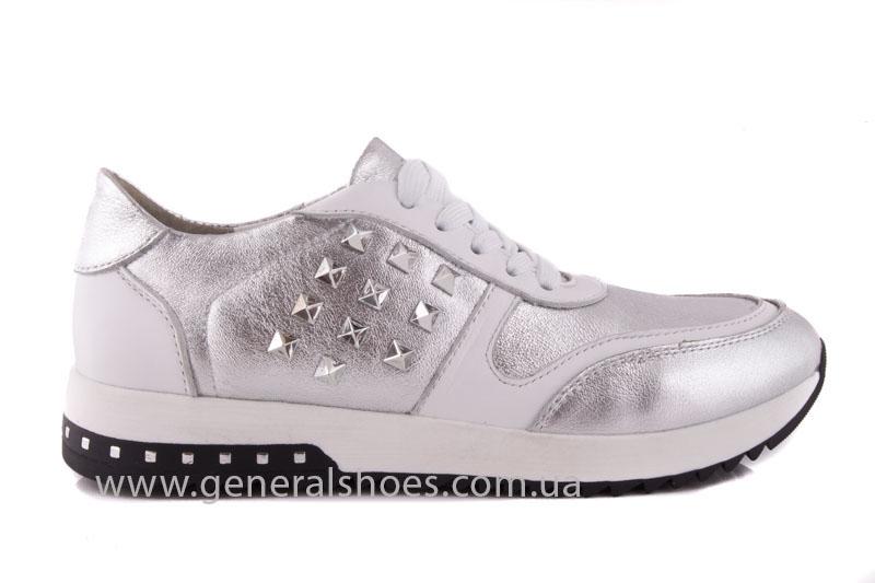 Кроссовки кожаные женские 1302 серебро фото 2