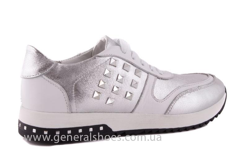 Кроссовки кожаные женские 1302 серебро фото 3