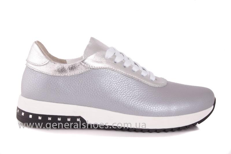 Кроссовки кожаные женские 1502 серебро фото 2