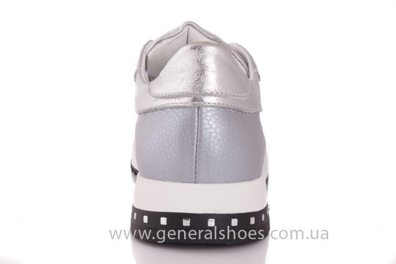 Кроссовки кожаные женские 1502 серебро фото 4