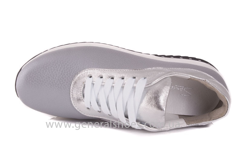 Кроссовки кожаные женские 1502 серебро фото 6