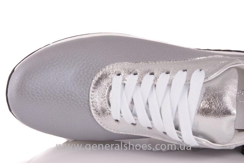 Кроссовки кожаные женские 1502 серебро фото 7
