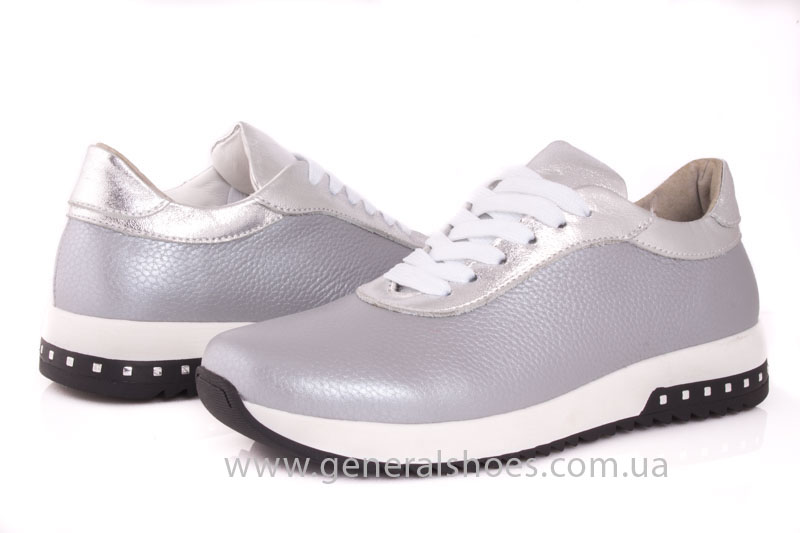 Кроссовки кожаные женские 1502 серебро фото 8