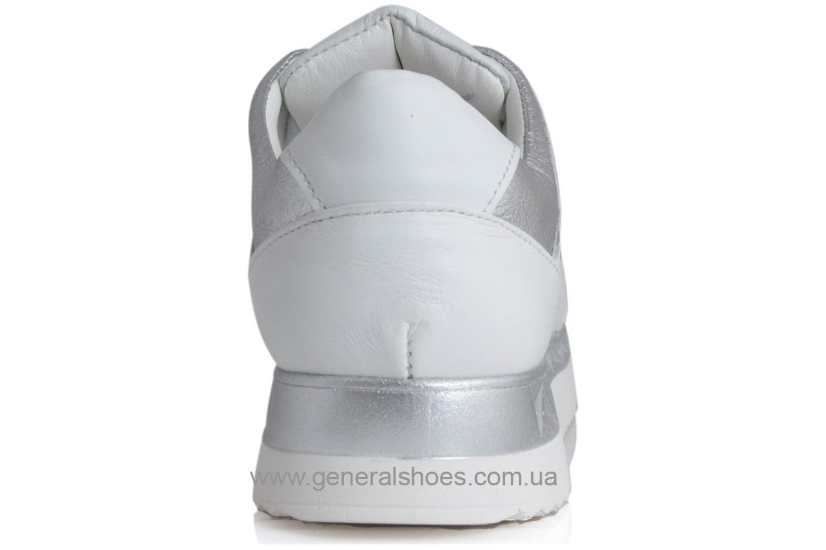 Кроссовки кожаные женские 1601 белый фото 3