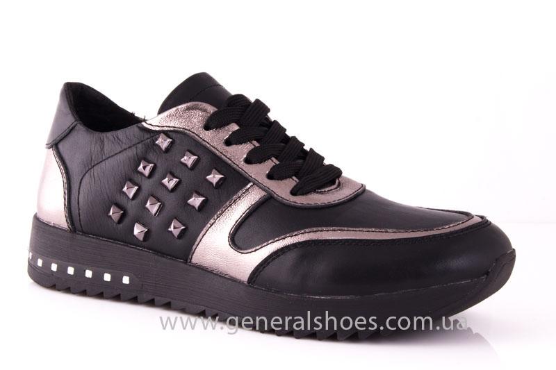 Кроссовки женские кожаные 0130 черный фото 1