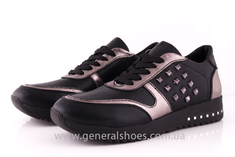Кроссовки женские кожаные 0130 черный фото 7