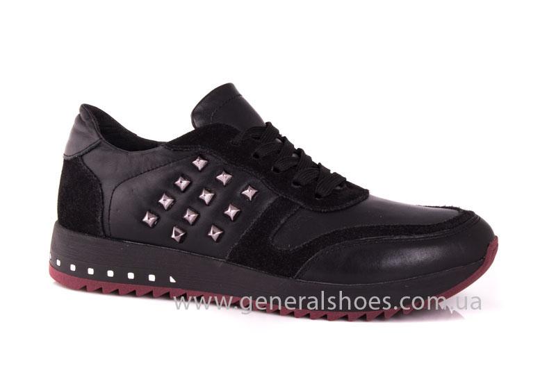 Кроссовки женские кожаные 0132 черный фото 1